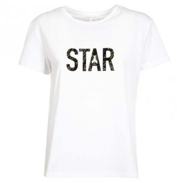 T-Shirt bianca con glitter multicolor W103BIANCOOT