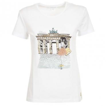 T-Shirt bianca con stampa citt e strass XU15BIANCO/B