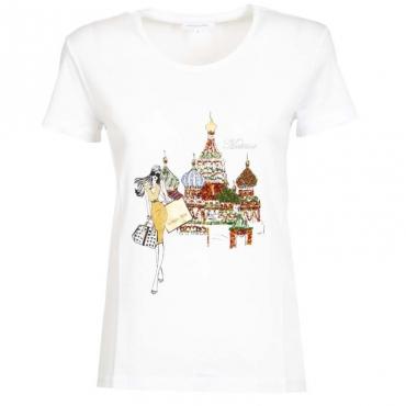 T-Shirt bianca con stampa citt e strass XU16BIANCO/M
