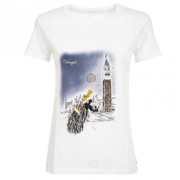 T-Shirt bianca con stampa citt e strass XU17BIANCO/V