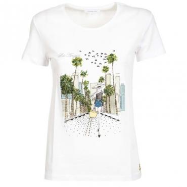 T-Shirt bianca con stampa citt e strass XU18BIANCO/L