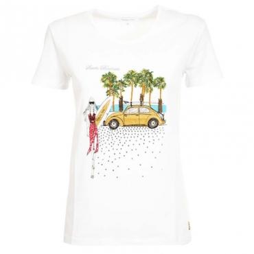 T-Shirt bianca con stampa citt e strass XU19BIANCO/S