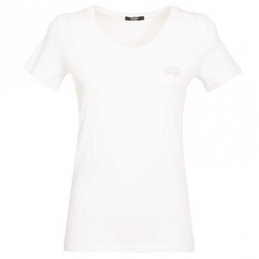 T-Shirt con logo strass 11111BIANCOO