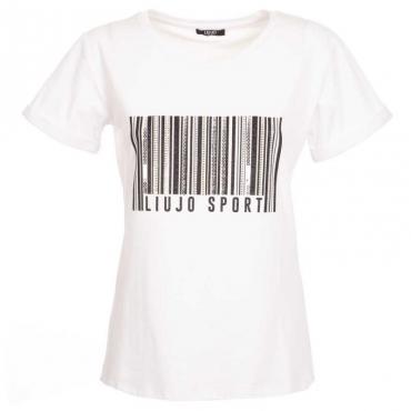 T-shirt codice a barre con borchie 11111BIANCOO