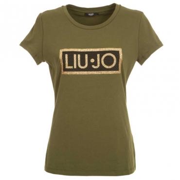 T-shirt con logo glitterato 80322VERDESA