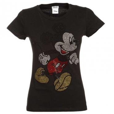 T-Shirt nera con strass multicolori T9013NEROHOT