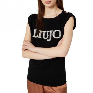 T-shirt con logo di perle 22222NERO