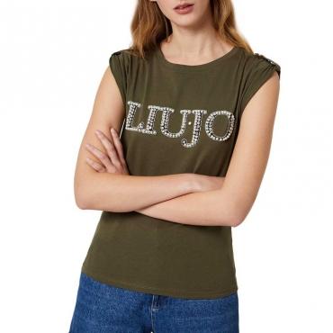 T-shirt con logo di perle X0277MILITAR