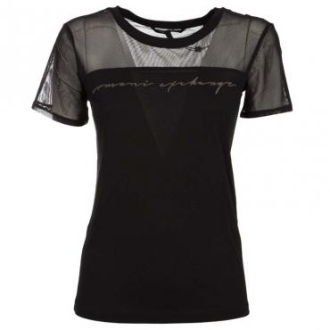 T-Shirt nera con dettagli in tulle BLACK