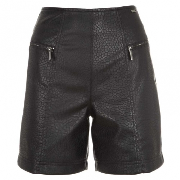 Pantaloncini in eco pelle squamata BLACK