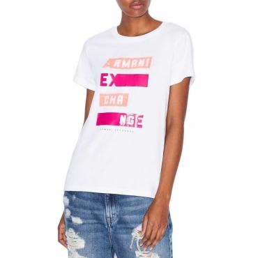 T-shirt con logo con strass fluo OPTIC WHITE