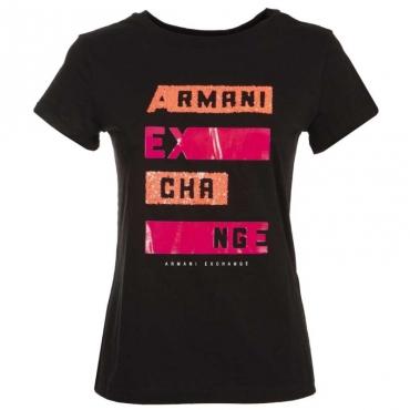 T-shirt con logo con strass fluo BLACK