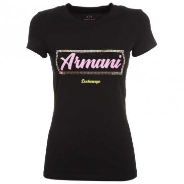 T-Shirt con logo in contrasto e paillettes BLACK