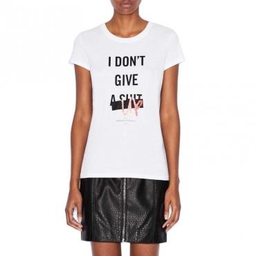 T-shirt con stampa centrale a contrasto OPTIC WHITE