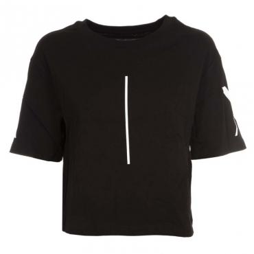 T-Shirt girocollo corta in cotone BLACK