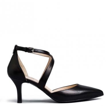 Decollet Pandora in pelle nera con incrocio alla caviglia 100