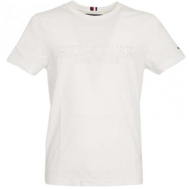 T-Shirt tinta unita con logo in rilievo YBRWHITE