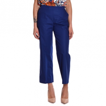 Pantalone cropped in cotone INDACO
