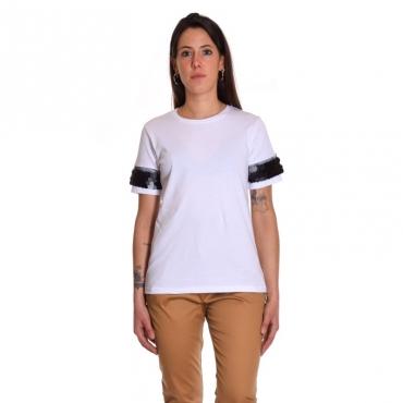 T-shirt manica paillettes BIANCO