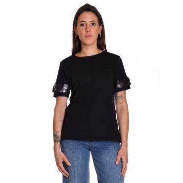 T-shirt manica paillettes NERO