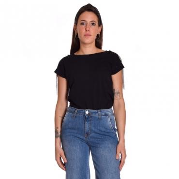 T-shirt applicazioni spalla NERO