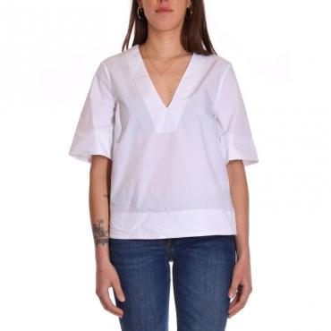 T-shirt scatoletta in cotone scollo v BIANCO