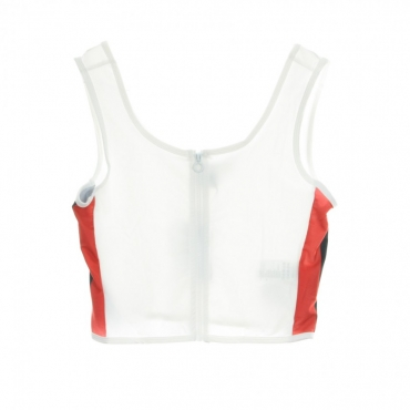 TOP SIDE STRIPE CROPPED ZIP TOP WHITE/FIRE RED/NAVY