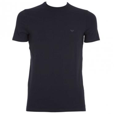 T-shirt tinta unita con logo BLU SCURO