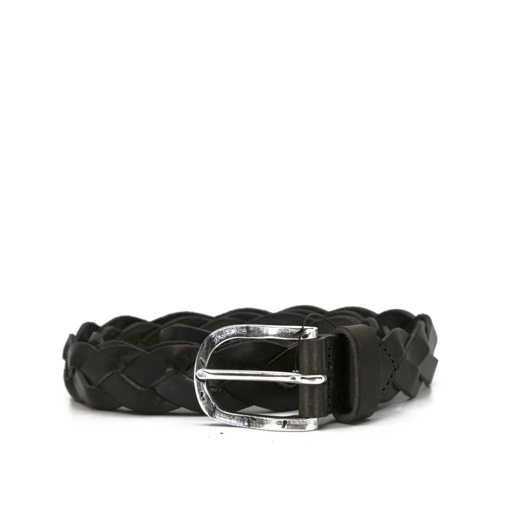 Cintura intrecciata nera in pelle VERDE