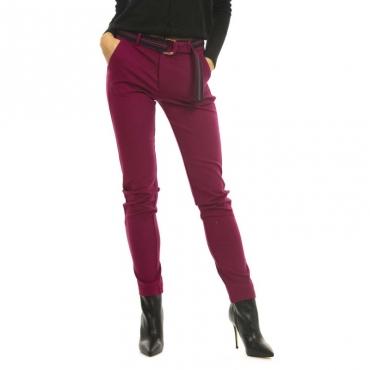 Pantalone Maddle viola con cintura a righe 10117