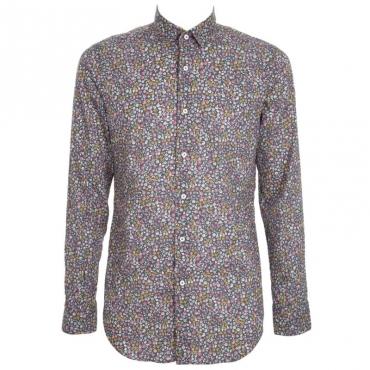 Camicia in cotone con trama floreale 2
