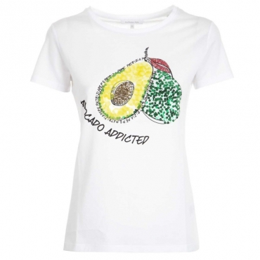 T-Shirt con stampa Avocado Addicted di paillettes W103