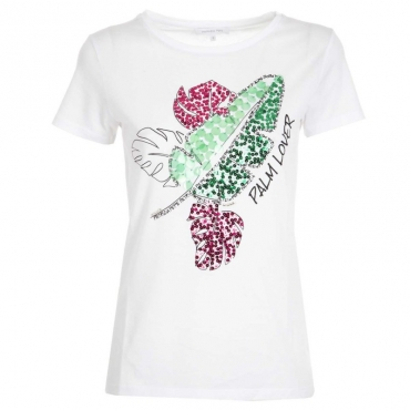 T-Shirt bianca Palm Lover con paillettes W103