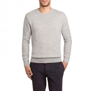 Pullover girocollo in lana Shetland 07 LTGREY