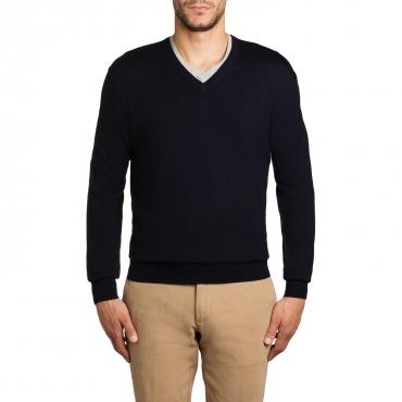 Pullover scollo a V in lana merino 04 NAVY