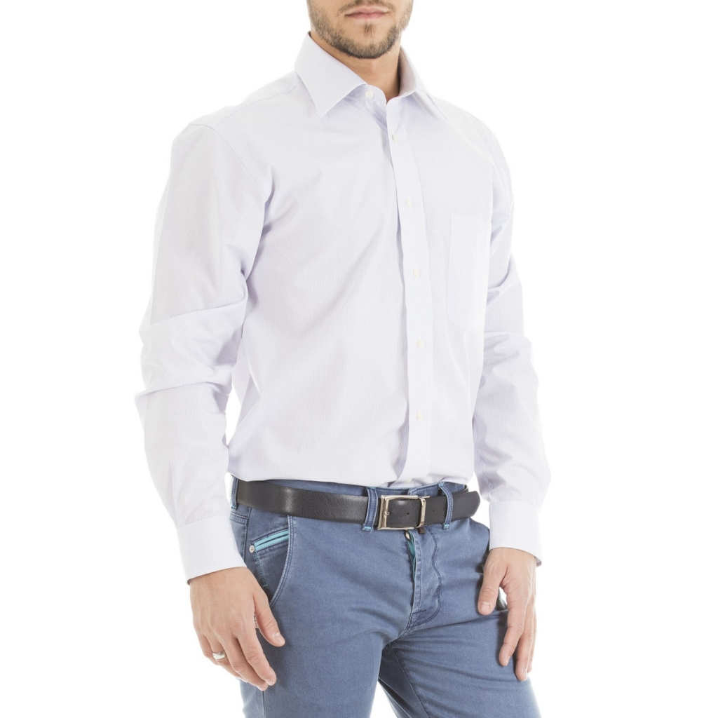 Italian collar shirt with striped pattern 756