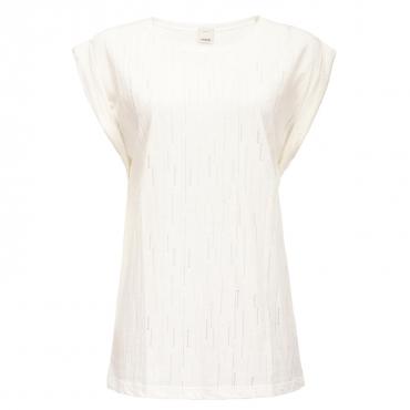 T-shirt in jersey con trasparenze Z13WHITE