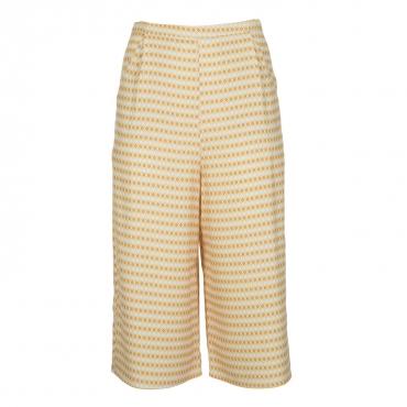 Pantaloni culotte con microfantasia gialla