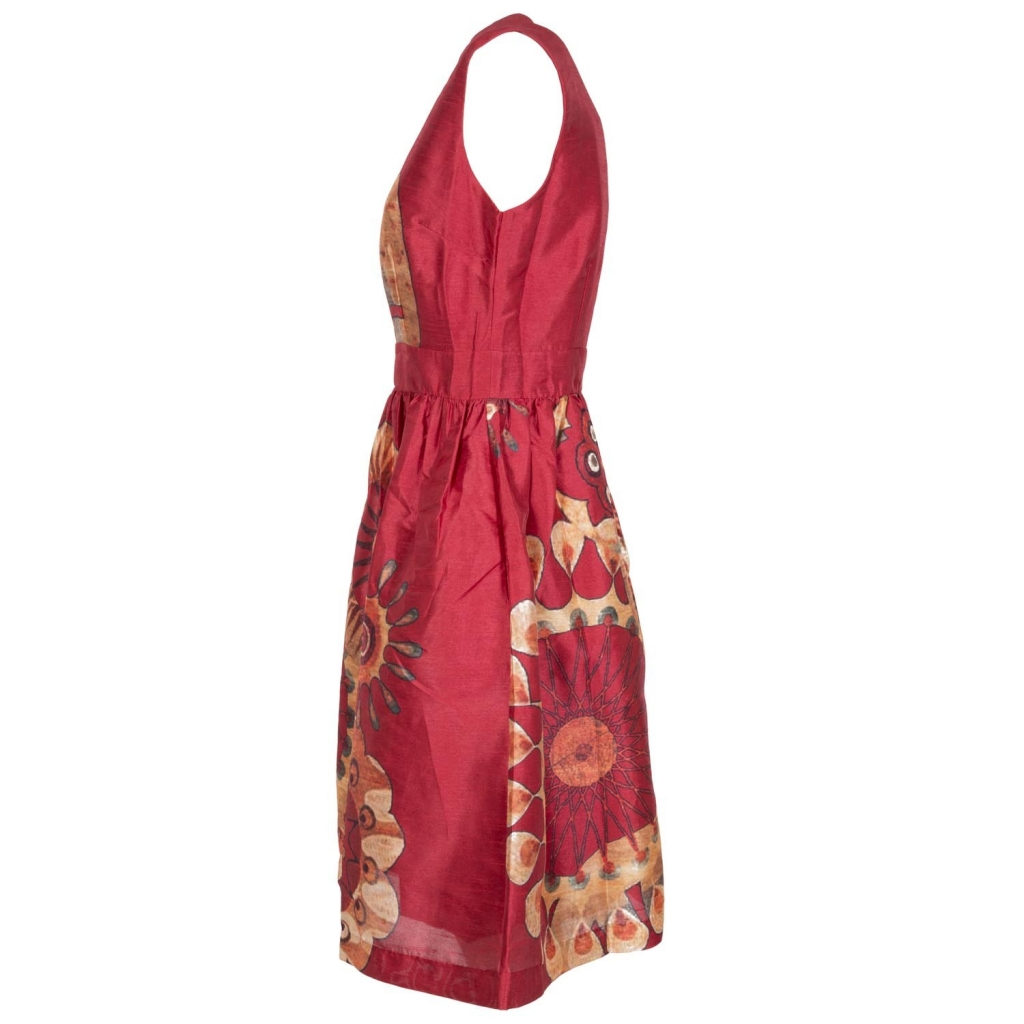 Rust-farbenen Kleid mit ethnischem Druck ROUGE