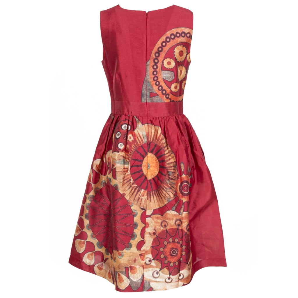 Ruffled dress with ethnic ROUGE print