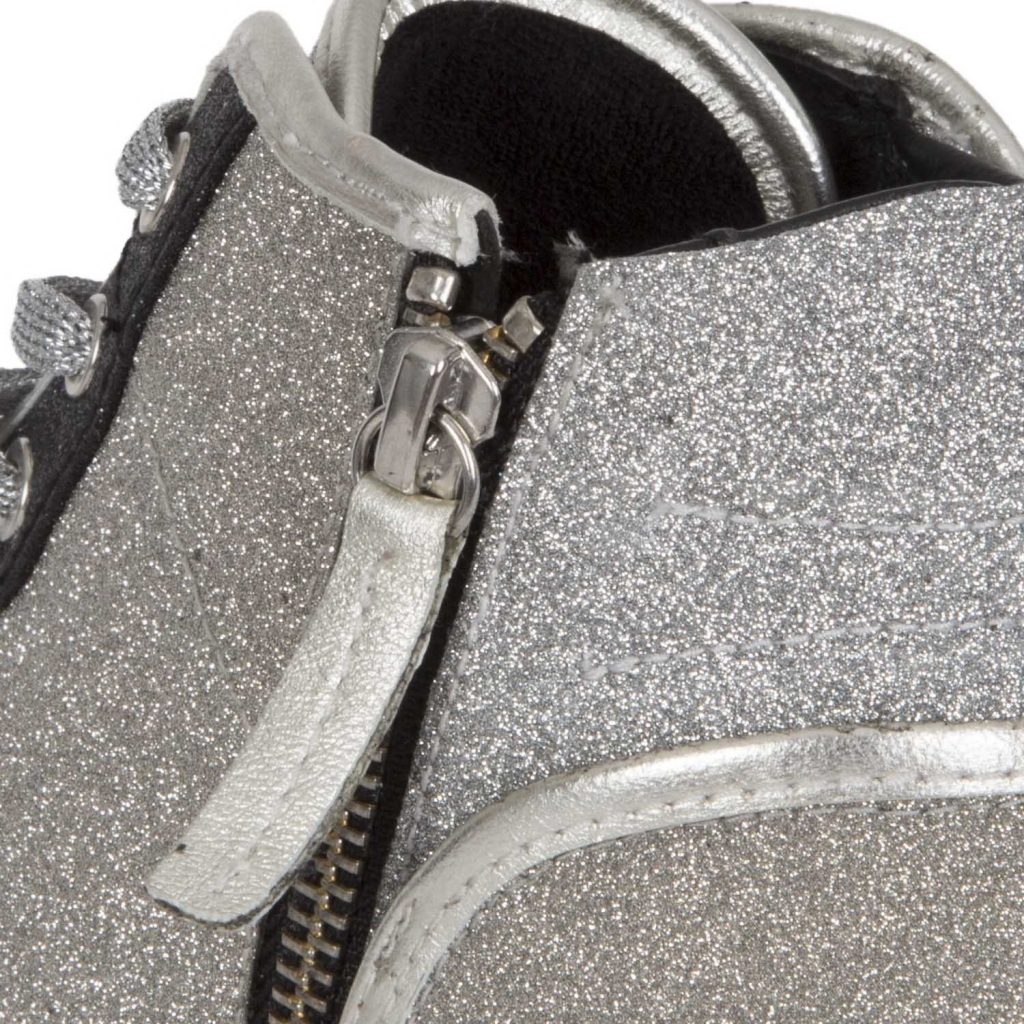 Silver sneakers covered with silver glitter SILVER