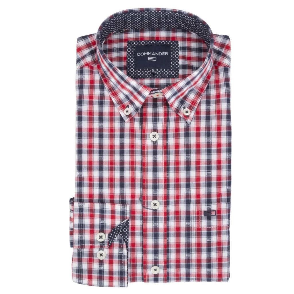 Check shirt with details in pattern 3048NAVY / RED