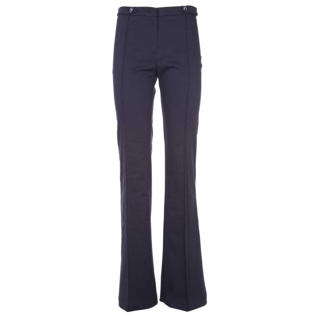 Pantalone in gabardine stretch blu a zampa F92BLUE