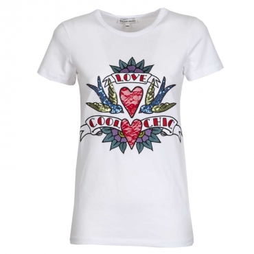 T-shirt Love Cool Chic con paillettes e ricami WHITE