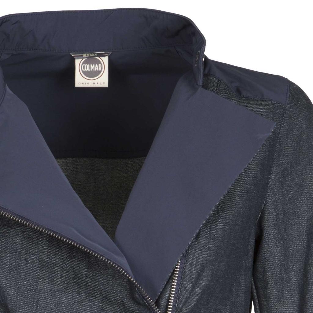 Biker-Jacke in Denim mit Details aus wasserdichtem Gewebe NAVY