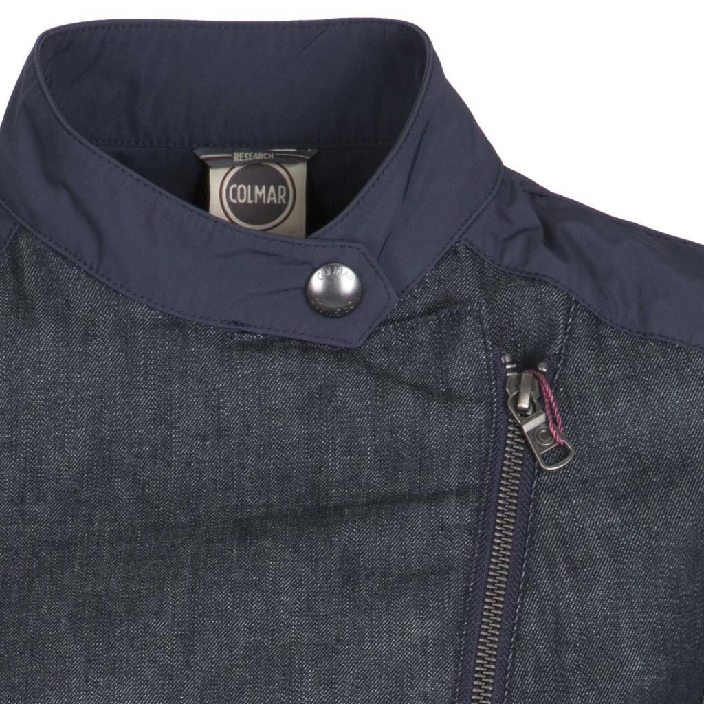 Denim biker jacket with NAVY waterproof fabric details