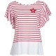 T-shirt with red and white stripes and pleated bottom 1974RIGAOTTI