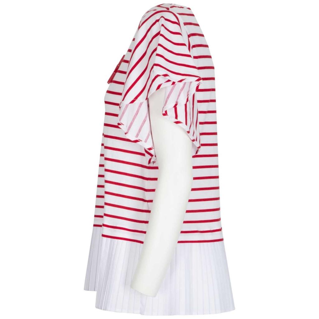 Maglietta a righe bianche e rosse e fondo plissettato 1974RIGAOTTI