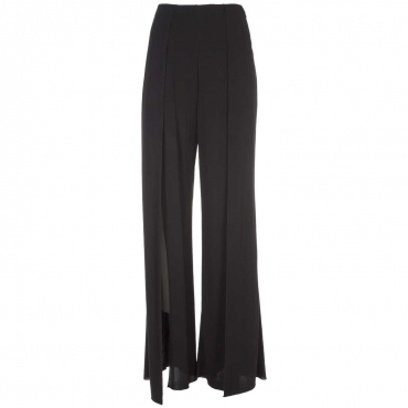Pantaloni in georgette di viscosa con spacchi  K103NERO