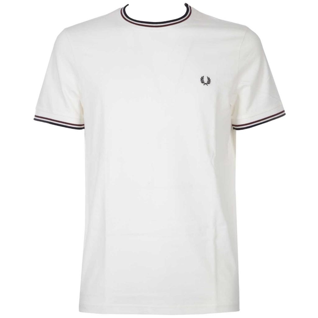 T-Shirt mit kontrastierenden Streifen an Ärmeln und Kragen 313SNOWWHITE
